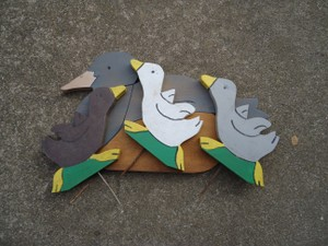 4 Vintage Painted Rustic Duck Stakes ~barn/outdoor Wedding