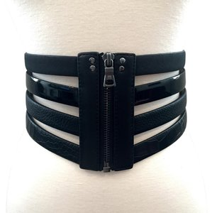 BCBGMAXAZRIA BCBG black mixed media waist belt
