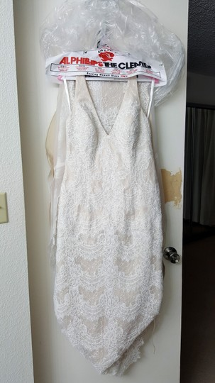 David's Bridal Champagne Polyester & Lace Galina Signature Trumpet Gown Swg691 Vintage Wedding Dress Size 14 (L)