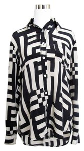 Tracy Reese Plaid Silk Top Black & Ivory