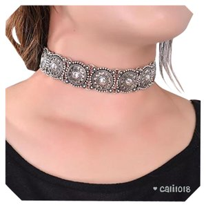 New Antique Silver Boho Choker Necklace
