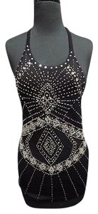 Cache Nylon Blend Beaded Sequined Knit Halter Sma12337 Black Halter Top