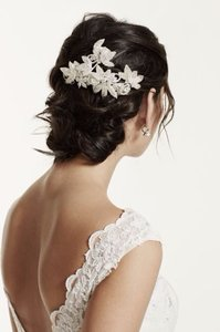 David's Bridal Floral Inspired Rhinestone Hair Clip With Beads