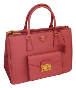 Prada Saffiano Lux Double Zip Tote in Rose Pink