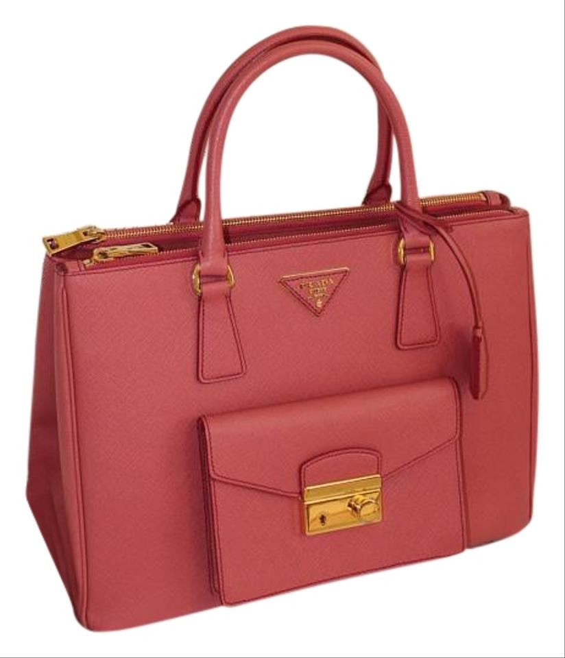 ce24e5d1c530c2 Prada Double Lux Zip Pocket with Front Pocket Rose Pink Saffiano Leather  Tote