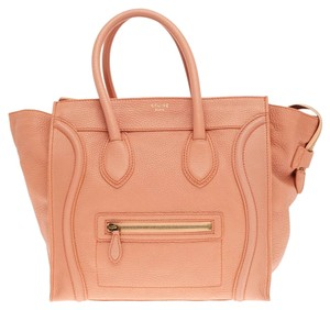 Céline Luggage Grainy Leather Mini Tote in Salmon