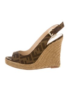 Fendi Zucca Espadrilles Brown Wedges