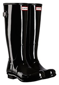 Hunter Adjustable Waterproof Rubber Black Glossy Boots