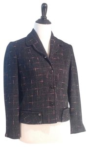 Designer Showroom Sample Waist Lined Inside Sale Black, dark grey and pink tweed Jacket