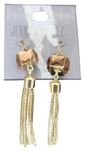 Jennifer Lopez GOLD TONE SOLID RHINESTONE DANGLER EARRINGS