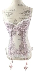 NWT Victoria's Secret Garter Corset Bustier LIGHT PINK Lace Mesh Side Zip 36c VICTORIAS SECRET CORSET BUSTIER
