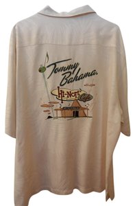 Tommy Bahama Top Cream with Palm embossed fabric