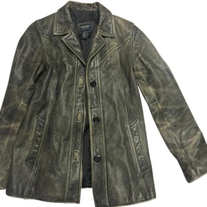 American Eagle Outfitters Distressed black Leather Jacket