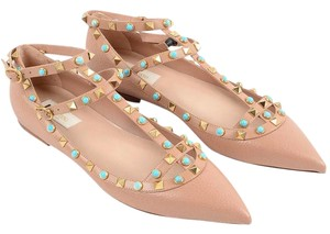 Valentino T-strap Textured Leather Flats