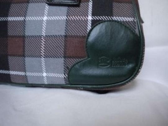 Paul Frank Retro Bowler Plaid Satchel in Green/Gray/Brown/Black