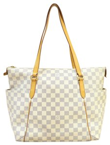 Louis Vuitton Damier Canvas Lv Medium Canvas Tote Shoulder Bag