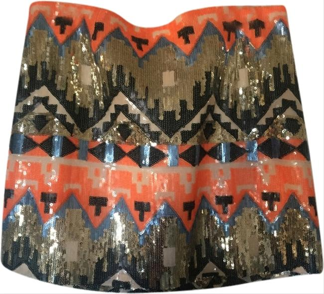 BB Dakota Mini Skirt Native Patter Sequence: Orange, blue, white