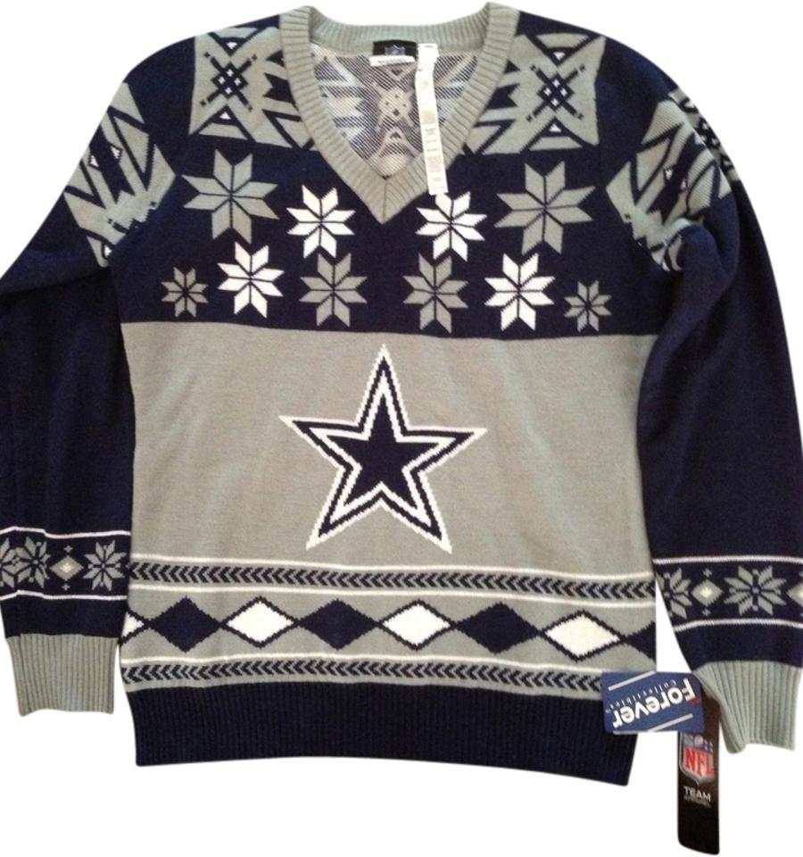 cd6443c96ad ... Navy V Neck Bluetooth Light Up Tri Blend Sweater. nfl forever  collectables dallas cowboys ugly christmas shirt clothes outerwear teamwear  sweater