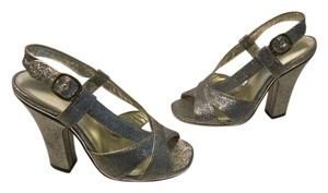 Marc Jacobs Lining Sparkly silver fabric & leather Italian slingback E36 Sandals