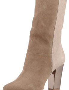 Jimmy Choo Khaki Suede, Brown Leather Boots