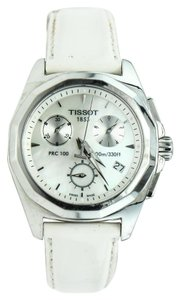 Tissot * Mother of Pearl Chrono Ladies White Patent Leather Watch