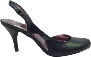 Audrey Brooke Slingback Sexy Black Leather Sandals