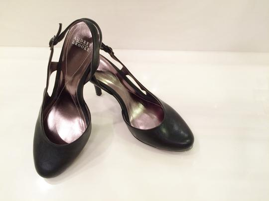 Audrey Brooke Slingback Sexy Closed Toe Never Worn Comfortable Buckle Rubber Sole Black Leather Sandals