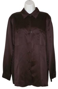 Marina Rinaldi Silk Satin Brown Top