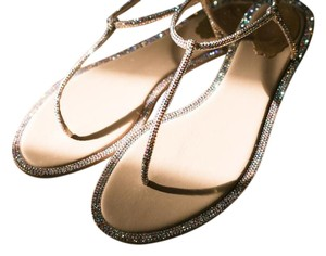 Rene Caovilla Champagne (Iridescent Rose Gold) Sandals