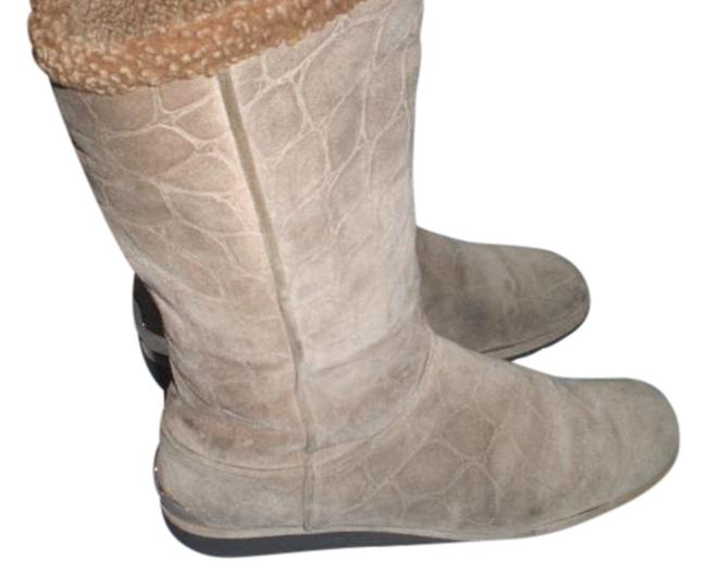 Item - Taupe Sockette Low Wedge with Gold Tone Boots/Booties Size US 8.5 Regular (M, B)