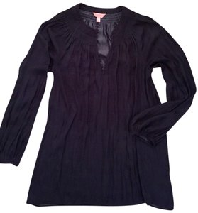Lilly Pulitzer Size Large Tunic Embroidered Top Navy