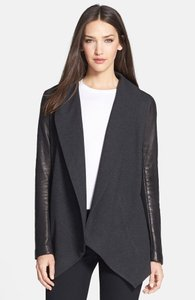 Theory Comfy Wool Warm Leather charcoal grey Leather Jacket