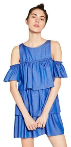 Zara short dress Blue Denim Ruffle on Tradesy