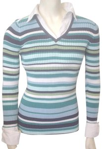 In Due Time Striped Shirt Mock Twin Maternity Top Blues Green White
