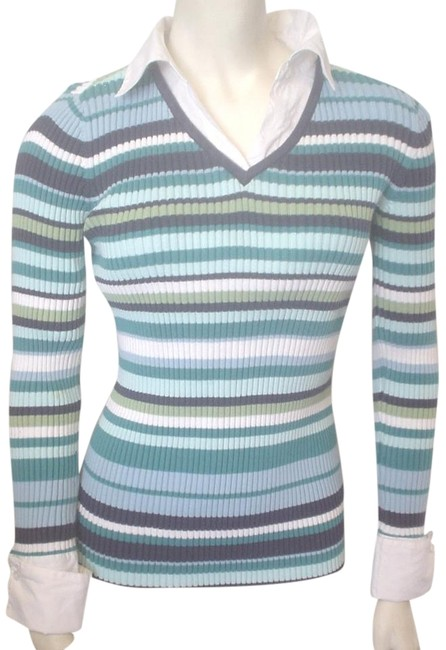 Preload https://item3.tradesy.com/images/in-due-time-blues-green-white-maternity-mock-twin-ls-striped-shirt-small-blouse-size-4-s-19652462-0-1.jpg?width=400&height=650