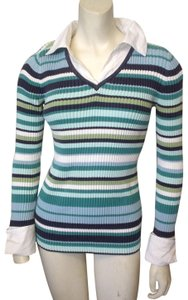 In Due Time Striped Shirt Mock Twin Maternity Sweater