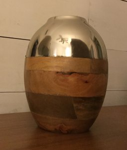 Rustic / Chic Metal And Wood Vase