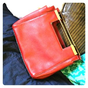 Halston Leather Pebbled Gold Hardware red Clutch