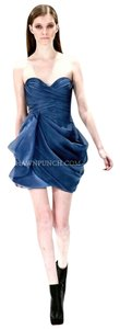 J. Mendel Silk Strapless Sweetheart Draped Organza Dress