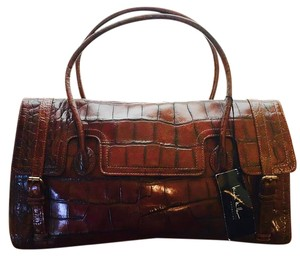 Nicole Miller Crocodile Leather Satchel in brown