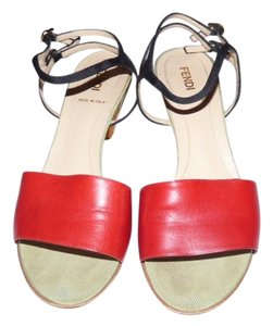Fendi Dressy Or Casual Excellent Condition Great 3'' Cork 2tone Dual Buckles High End Boho Look red leather toe, black strappy heel, pale green accents Sandals