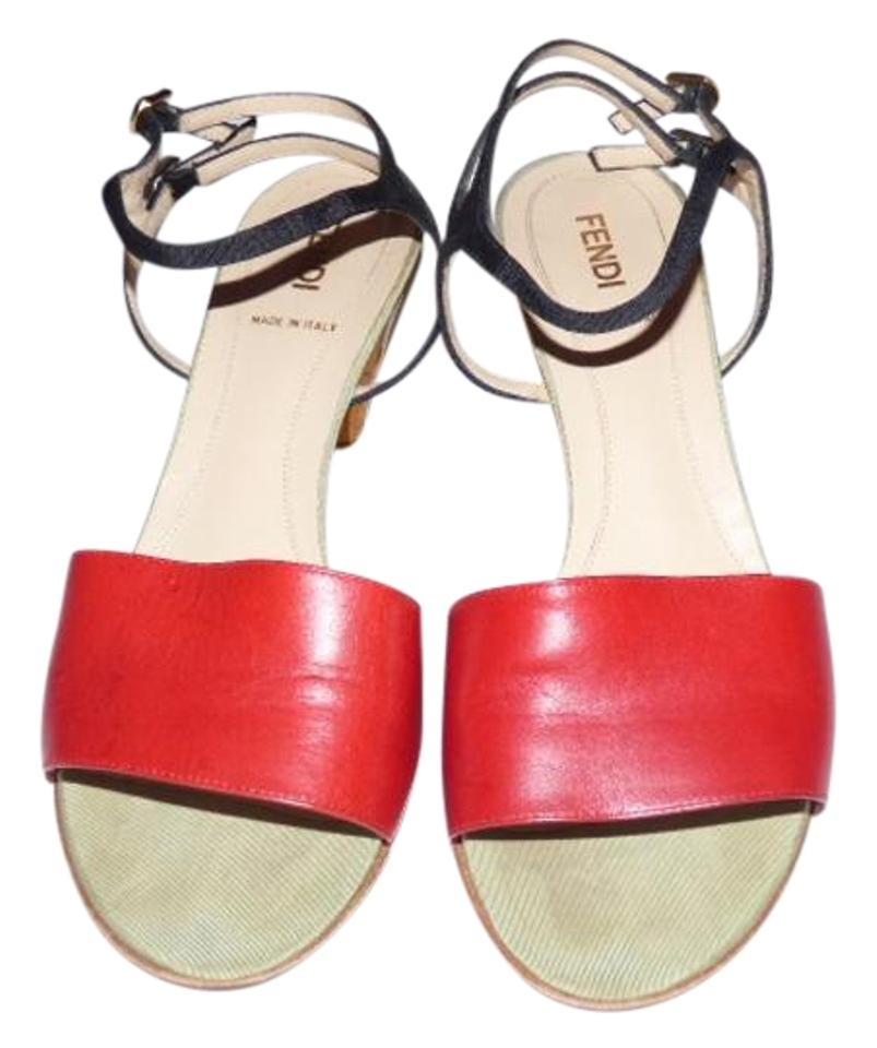 new arrival authorized site performance sportswear Fendi Red Leather Toe Black Strappy Heel Pale Green Accents Vintage  Shoes/Designer Sandals Size US 7.5 Regular (M, B)