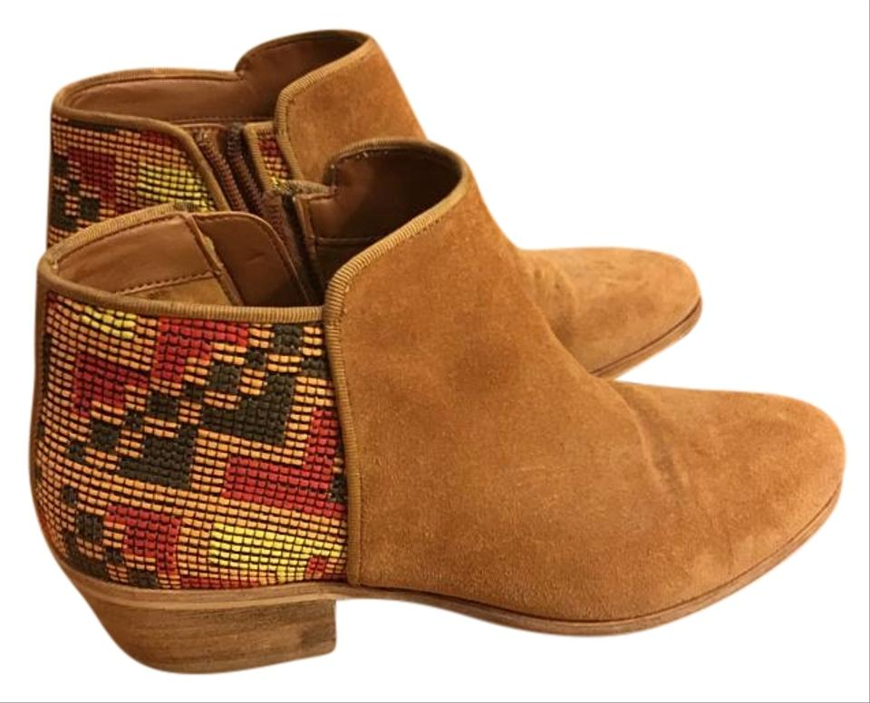 e733fab7711eda Sam Edelman Putnam Tan with Tribal-Patterned Fabric Boots Image 0 ...