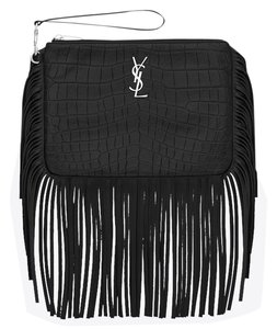 Saint Laurent Saintlaurentclutch Yslcrocodilebag Crocodileclutch Wristlet in Black