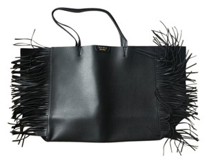 Victoria's Secret Fringe Hem Faux Leather Suede Tote in Black