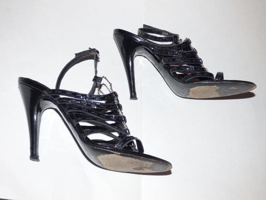 Fendi Dressy Or Casual Excellent Condition Great 3'' Cork Heels 2tone Dual Buckles High End Boho Look textured black strappy leather and silver Pumps