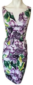 ADRIANNA PAPELL Designer Dress Size 4 Small S 2 6 Sundress Purple Formal Floral Dress