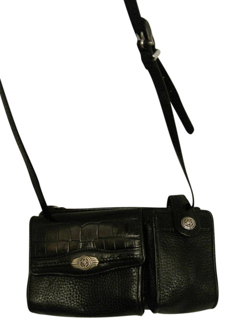 Brighton Organizer Purse Black Leather Cross Body Bag Brighton Organizer Purse Black Leather Cross Body Bag Image 1