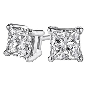 LoveBrightJewelry Princess Cut Diamond Stud Earrings in 14K White Gold