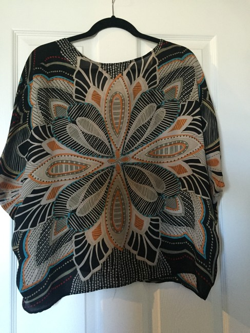 T Collection Top Navy Blue Print